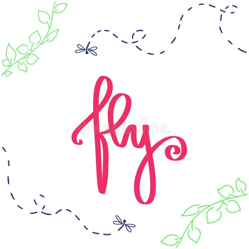 Муха литерности руки щетки мотивации Знак вектора с ошибками, листьями дерева, dragonfly насекомых летания на белой предпосылке С иллюстрация вектора