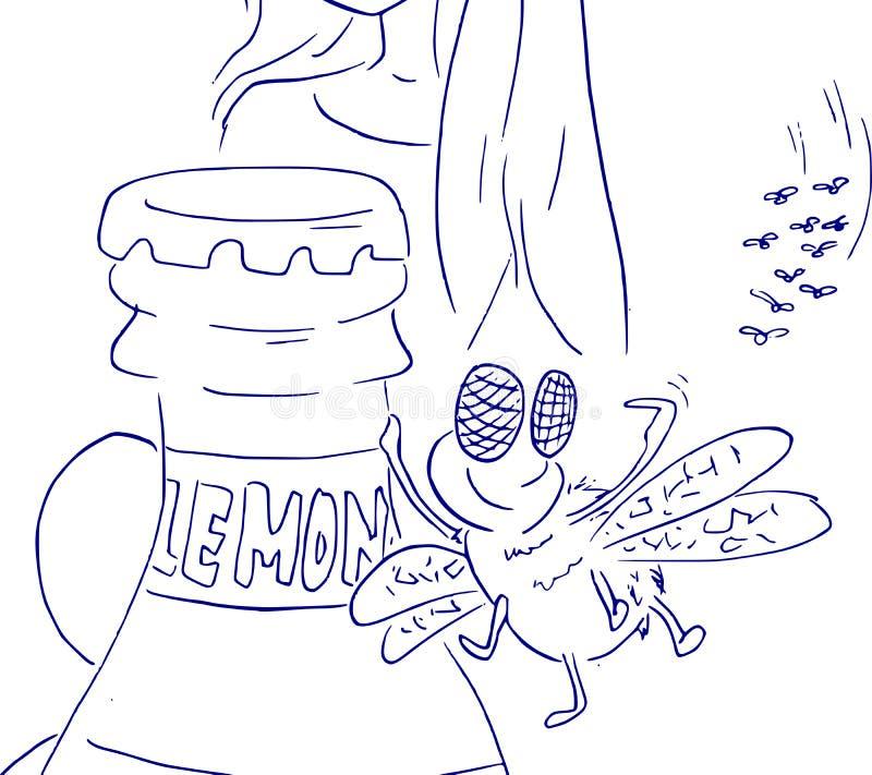 Муха любит лимонад Шарж роя мух идя к бутылке иллюстрация штока