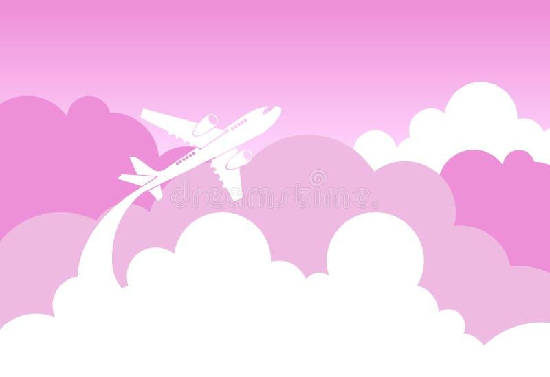 Муха самолета силуэта над розовыми облаками и влюбленностью Backgrouund неба бесплатная иллюстрация