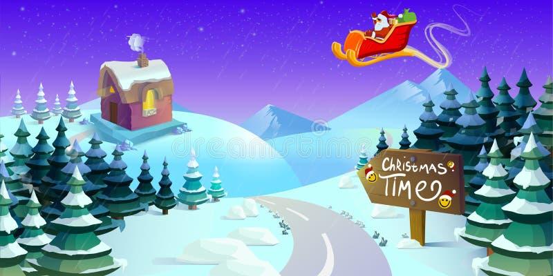 Муха саней Санта Клауса над лесом Рождественская открытка, приглашение, предпосылка, шаблон дизайна также вектор иллюстрации прит иллюстрация вектора