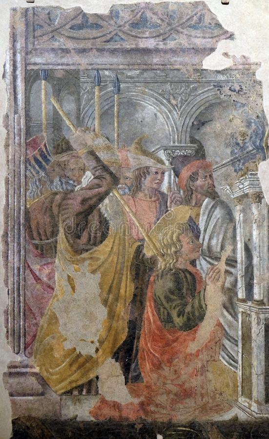 Мученичество St. Thomas апостол, di Santa Croce базилики во Флоренс стоковые изображения