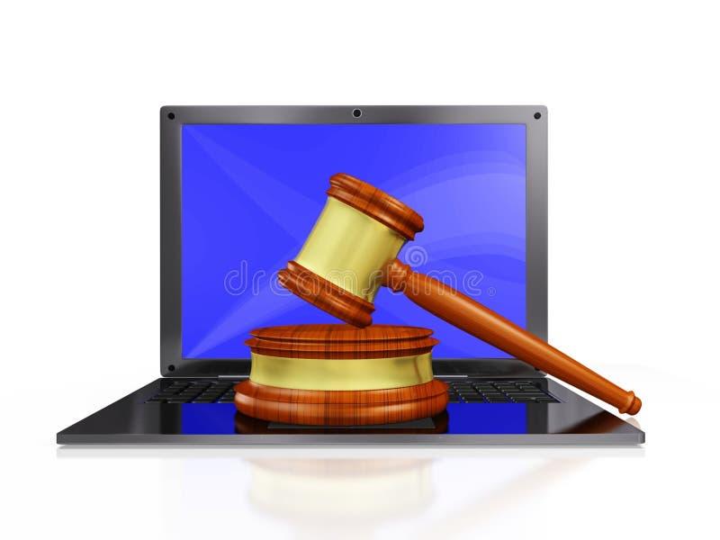 Мушкел молотка судьи на компьтер-книжке бесплатная иллюстрация
