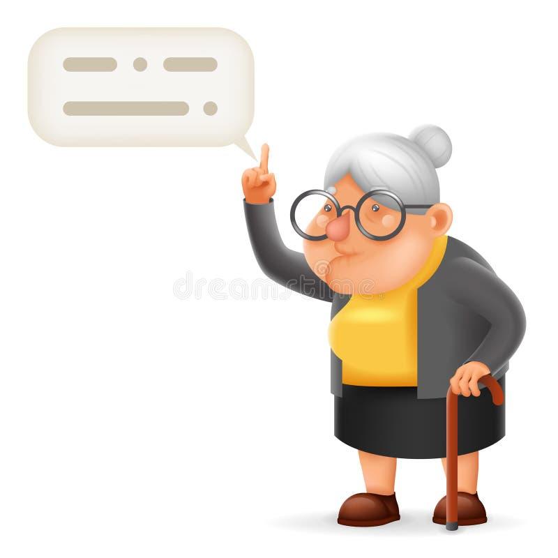 Мудрая иллюстрация вектора дизайна шаржа 3D характера пожилой женщины бабушки наведения учителя иллюстрация вектора