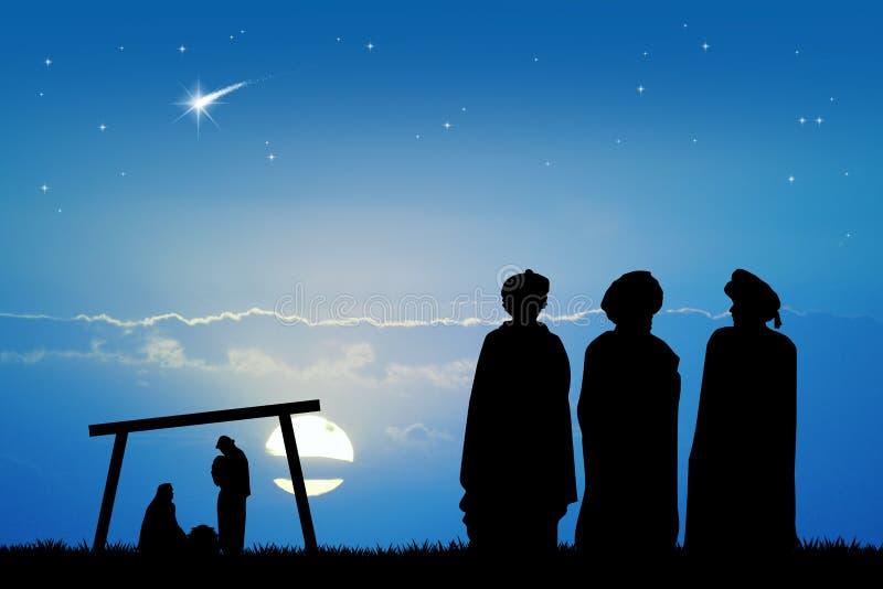 3 мудрецы на заходе солнца иллюстрация штока