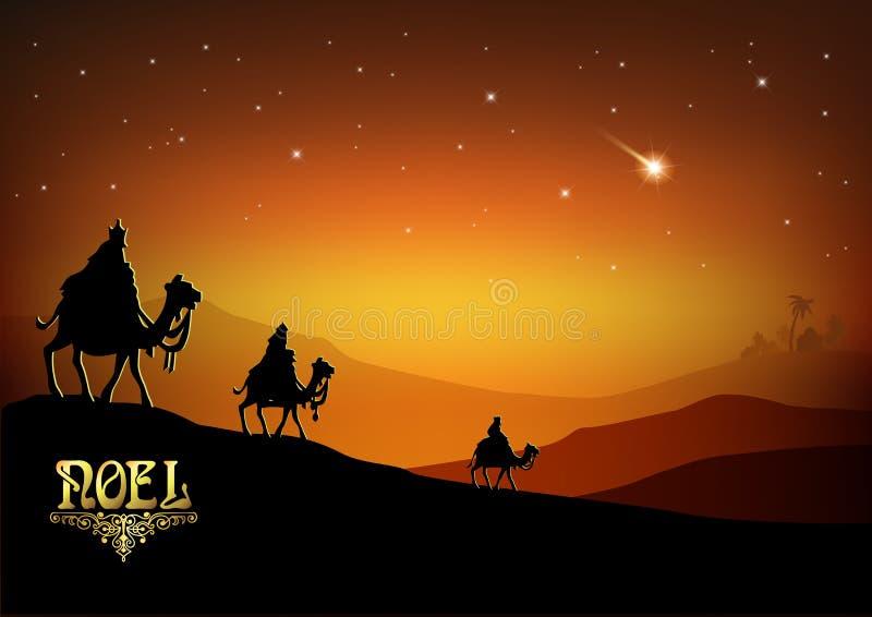 3 мудрецы посещают Иисус Христос после его рождения иллюстрация вектора