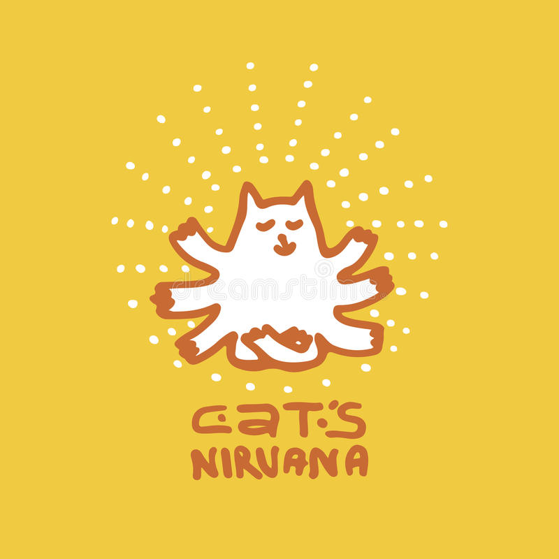 Мульти-вооруженный кот который достигал нирваны иллюстрация вектора
