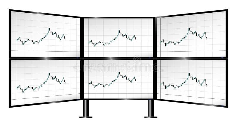 Мульти-монитор торгуя с диаграммами подсвечника иллюстрация вектора