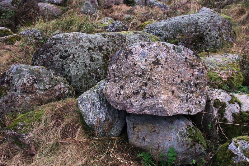 Мшистые камни лед-времени стоковое изображение rf