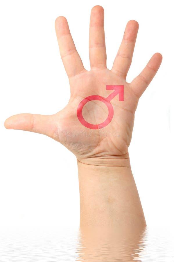 Мыжская рука с мыжским символом чертежа стоковая фотография rf