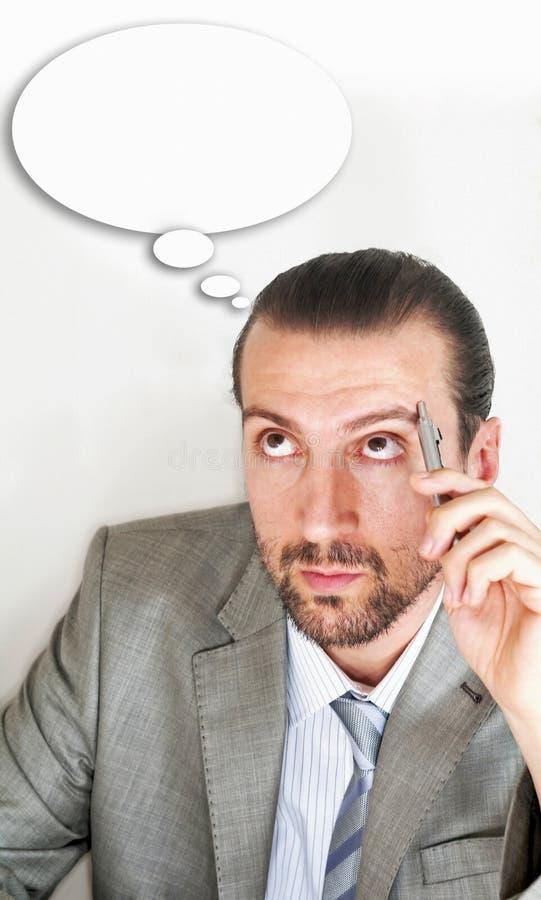 мысль бизнесменов пузыря стоковое изображение