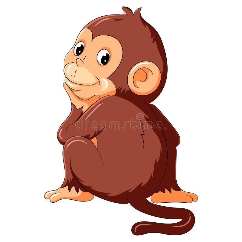 Мысль и улыбка обезьяны бесплатная иллюстрация