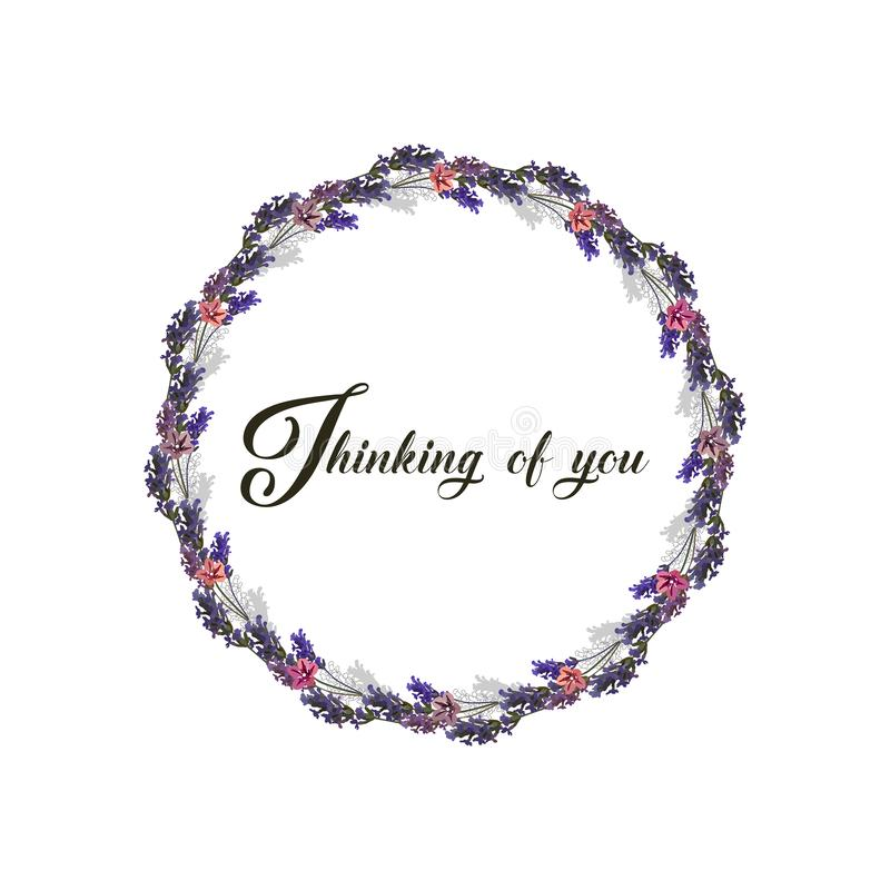 Мысль о вас - карта r Флористическая рамка сделанная из цветков лаванды Пурпурные цвета иллюстрация штока