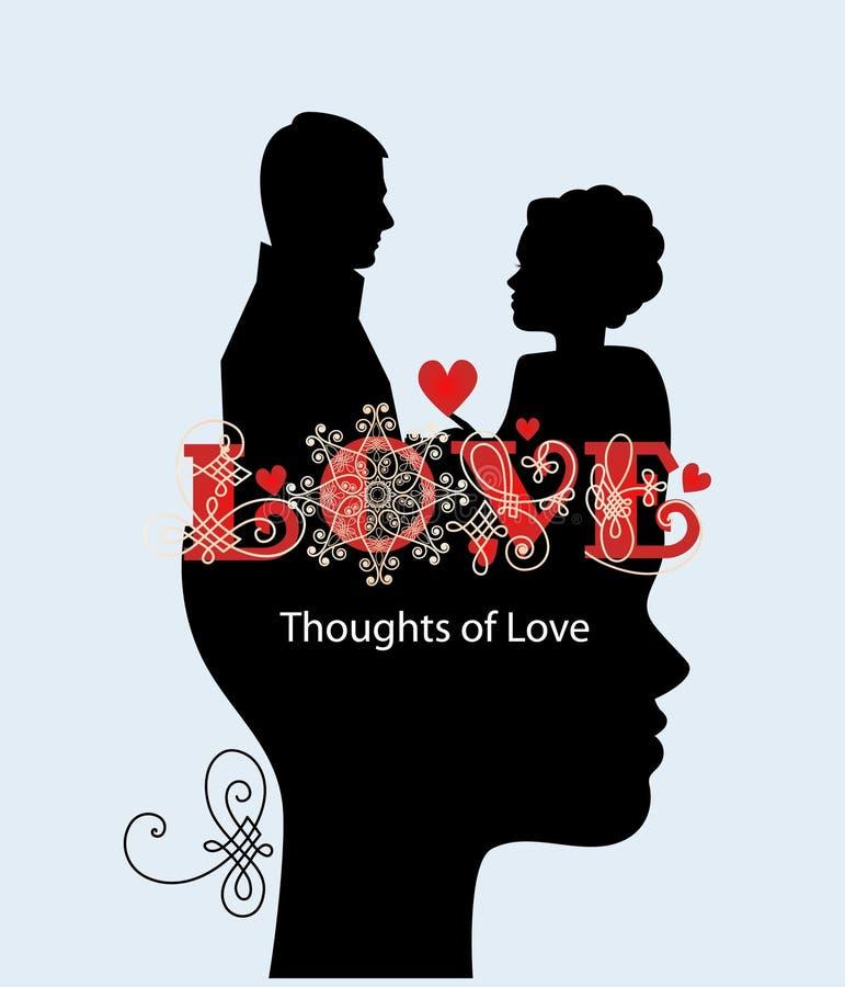 Мысли пар влюбленности иллюстрация штока