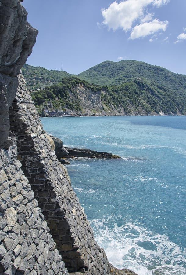 Мыс Portofino от замка стоковое фото rf