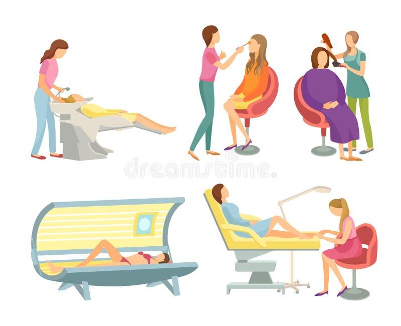 Мытье волос салона спа и вектор Hairstyling установленный бесплатная иллюстрация