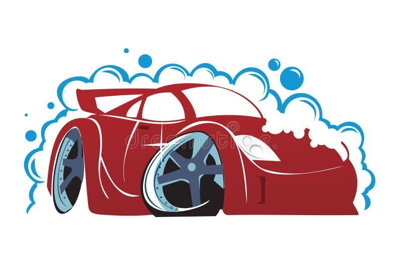 мытье губки машины шланга автомобиля чистое иллюстрация вектора
