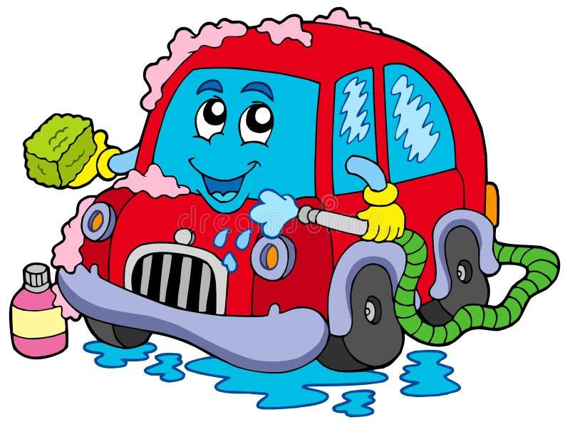 мытье шаржа автомобиля иллюстрация вектора