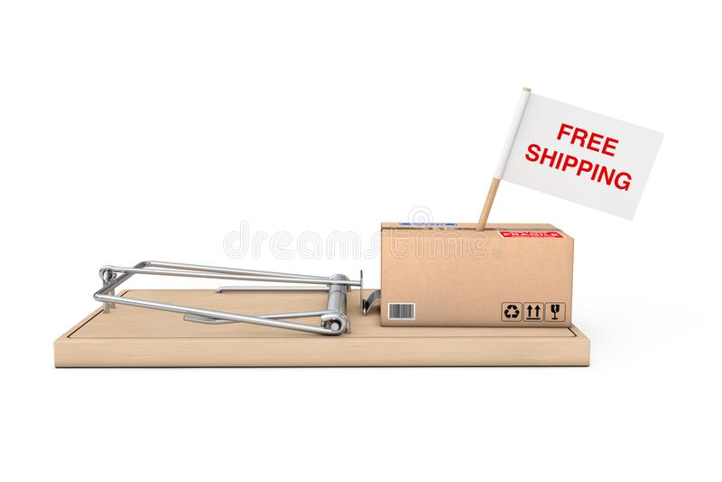 Мышеловка с коробкой коробки бесплатной доставки и флаг с знаком приманки иллюстрация вектора