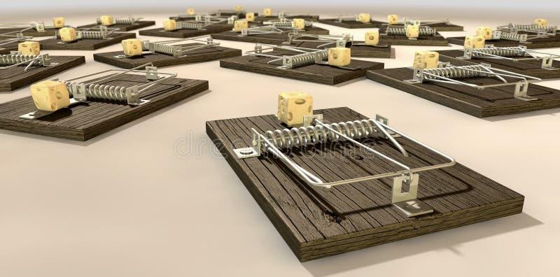 Мышеловки с концом блока сыра стоковые фото