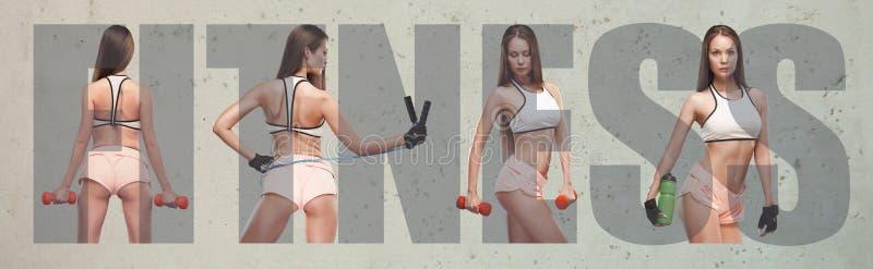Мышечная молодая спортсменка, творческий коллаж стоковая фотография rf