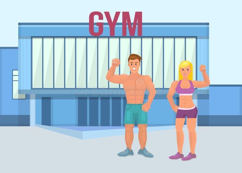 Мышечный зверский человек с атлетической девушкой в спортзале Пара человека и женщины гордо показывает их мышцы в сильных оружиях бесплатная иллюстрация