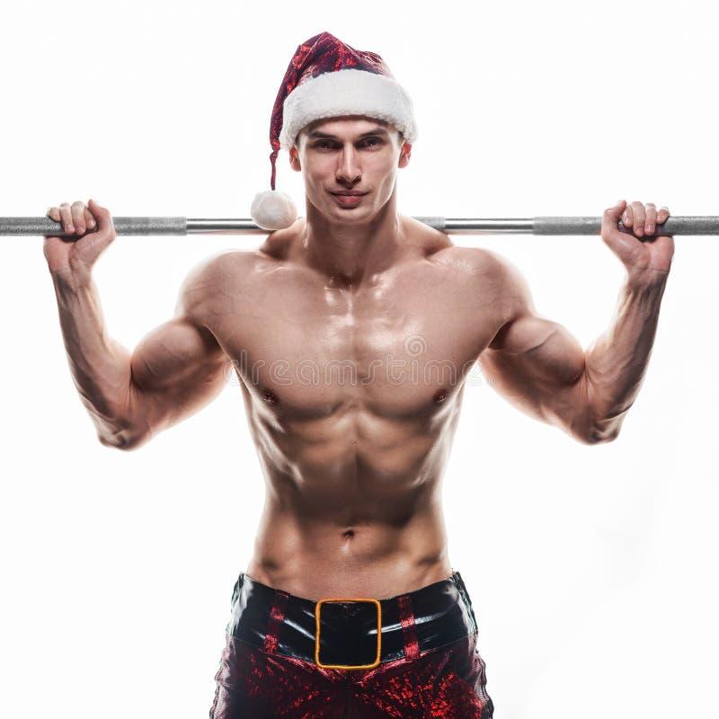 Мышечный красивый сексуальный Санта Клаус стоковое изображение