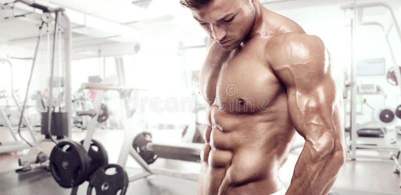 Мышечный парень культуриста стоя на спортзале стоковое изображение rf