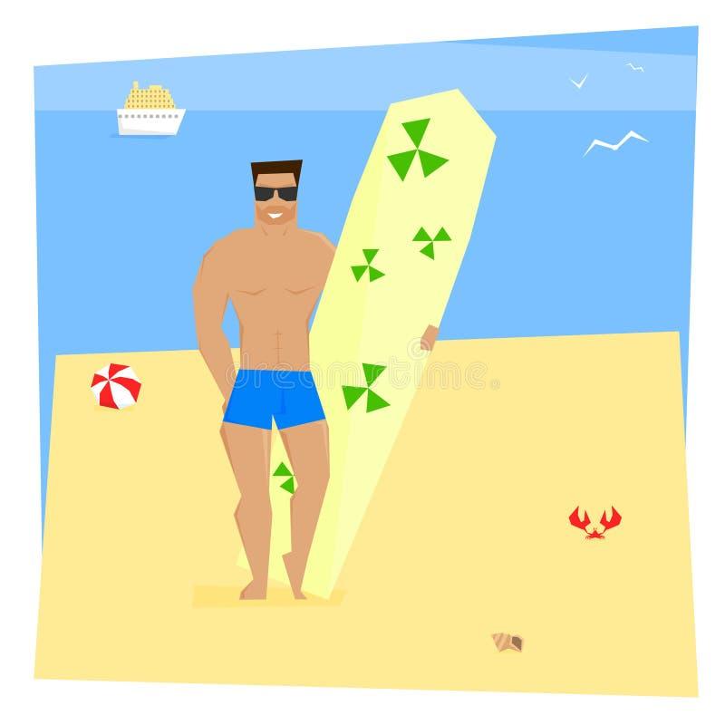 Мышечный человек с surfboard стоковое фото