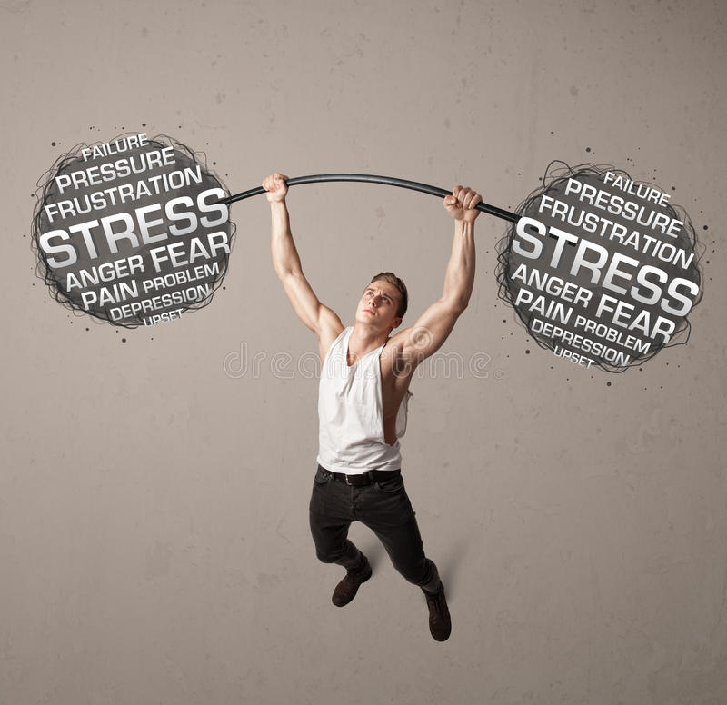 Мышечный человек воюя с стрессом стоковое изображение rf
