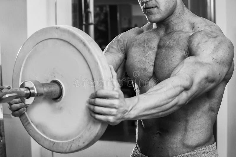 Мышечный человек в спортзале выполняя тренировку стоковое изображение rf