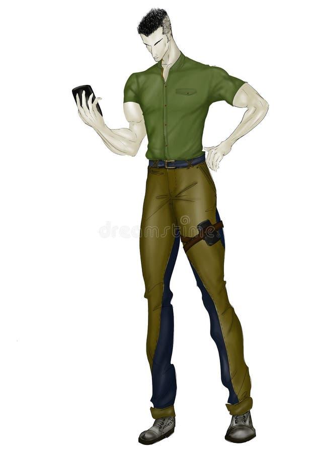 Мышечный человек в форме иллюстрация вектора