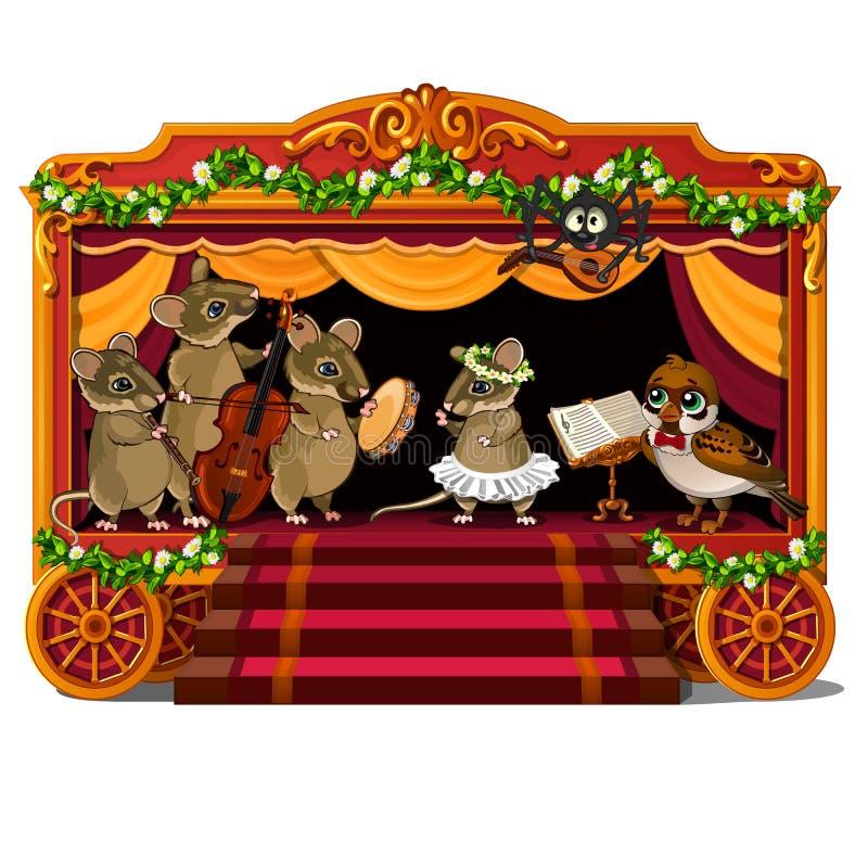 Мыши и птица с музыкальными инструментами на сцене иллюстрация вектора