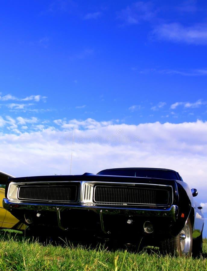 мышца травы американского черного автомобиля классицистическая стоковое изображение