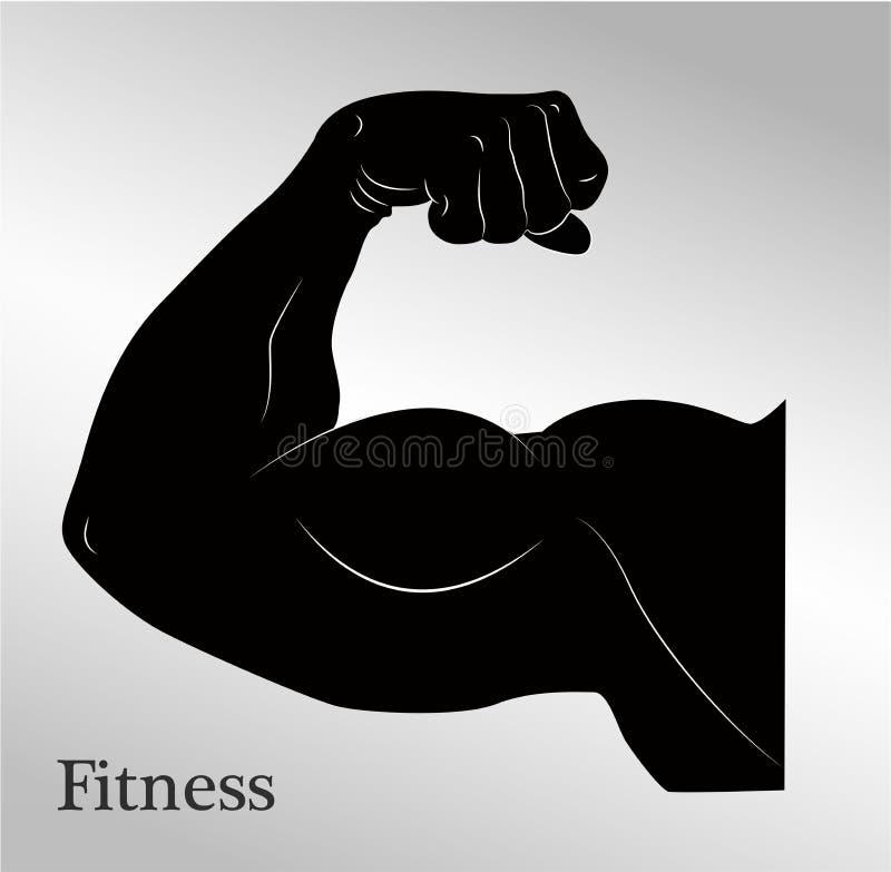 Мышцы руки человека бицепса шаржа иллюстрация штока