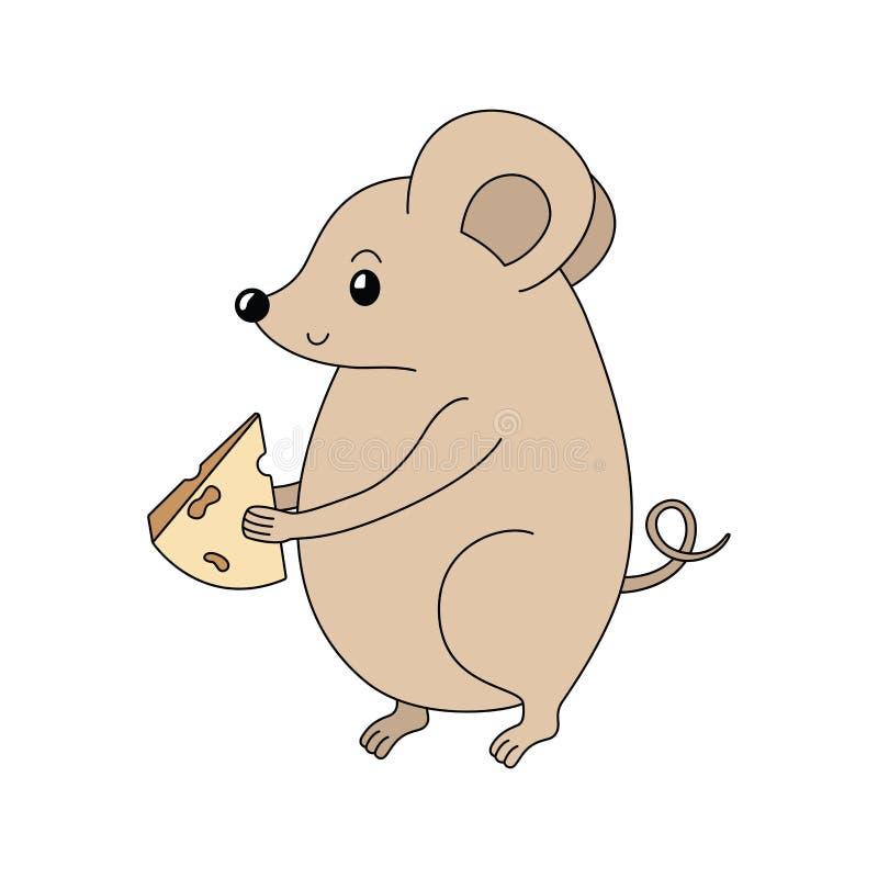 Мышь вектора мультфильма с сыром Handdrawn грызун крыса Символ 2020 бесплатная иллюстрация