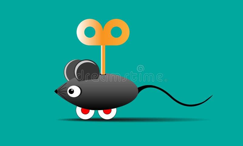 Мышь игрушки на колесах с ключом иллюстрация штока