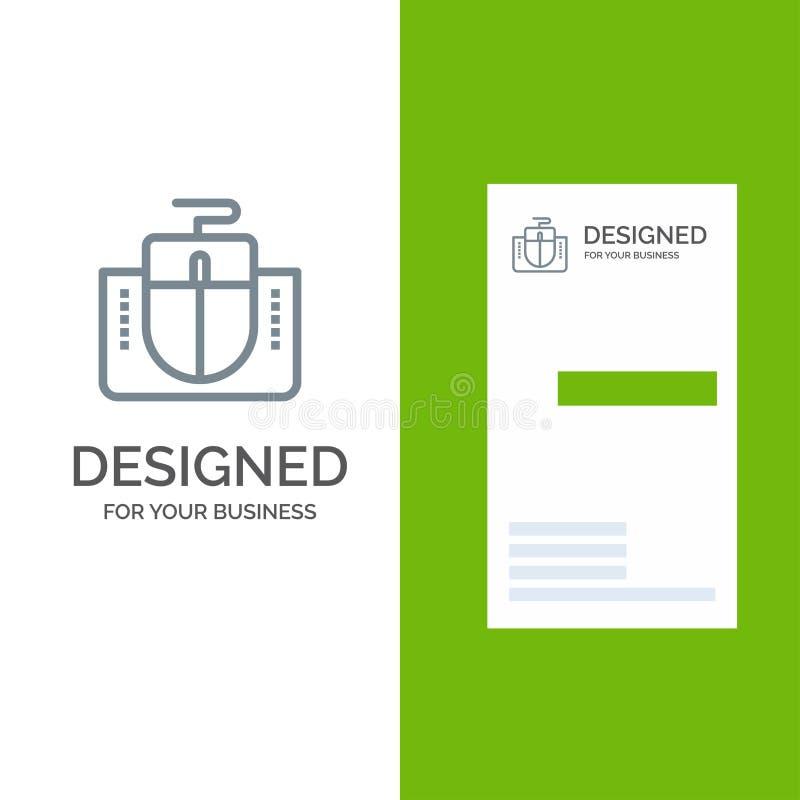 Мышь, интерфейс, интерфейс мыши, дизайн логотипа компьютера серые и шаблон визитной карточки иллюстрация вектора