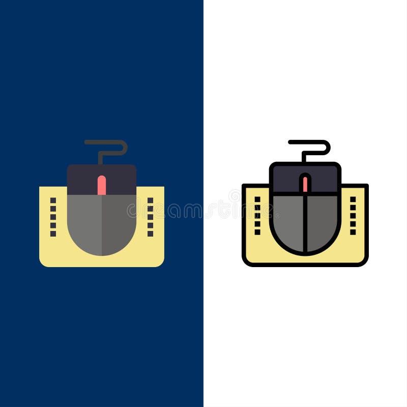 Мышь, интерфейс, интерфейс мыши, значки компьютера Квартира и линия заполненный значок установили предпосылку вектора голубую бесплатная иллюстрация