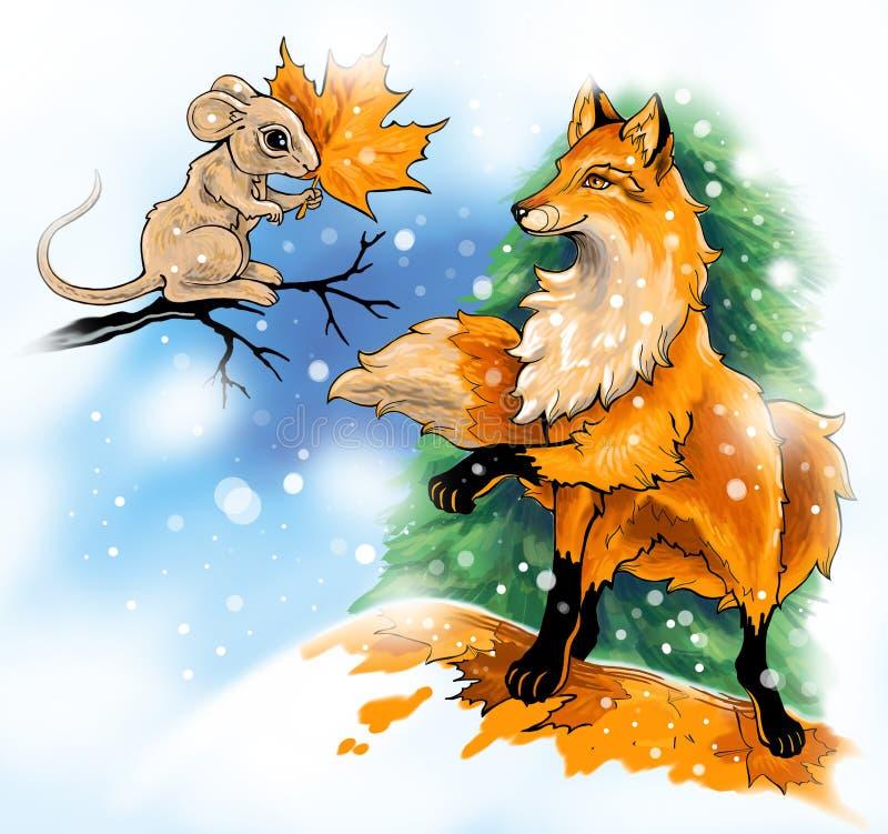 Мышь и лиса в зиме стоковое изображение