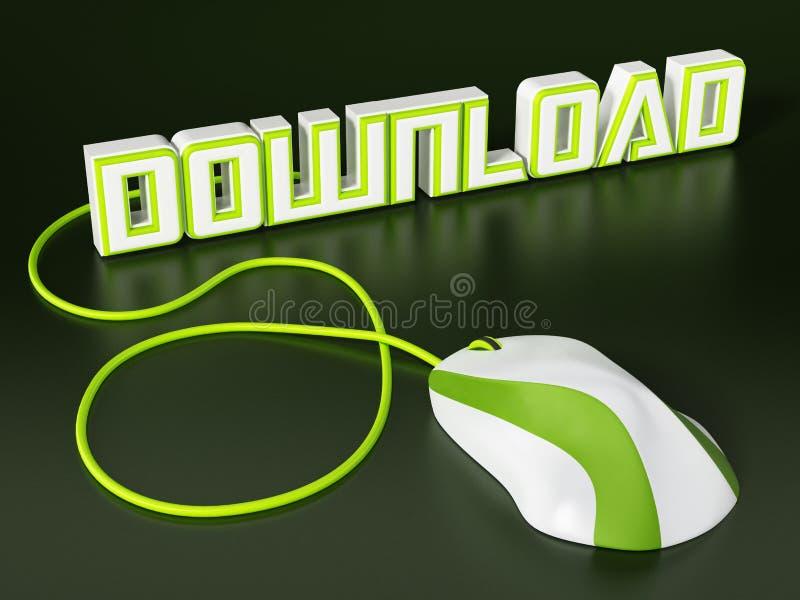 Мышь кабеля соединенная к тексту загрузки иллюстрация 3d бесплатная иллюстрация
