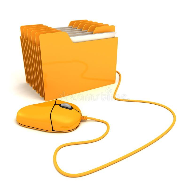 Мышь компьютера и желтый скоросшиватель офиса иллюстрация штока