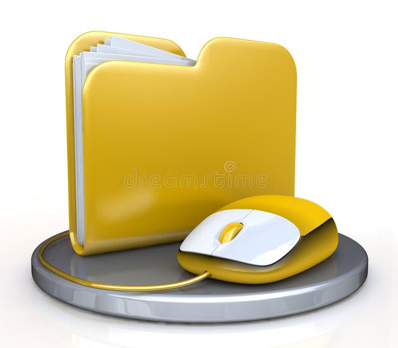 Мышь компьютера и желтая папка бесплатная иллюстрация