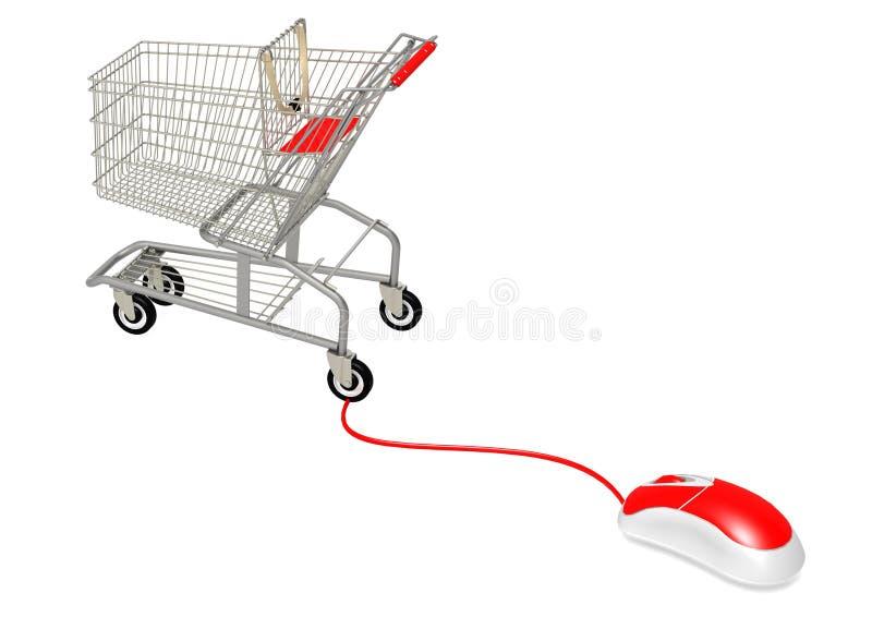 Мышь компьютера подключает к ходить по магазинам иллюстрация штока