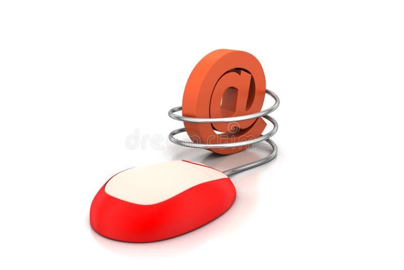 Мышь компьютера подключенная к символу электронной почты иллюстрация вектора