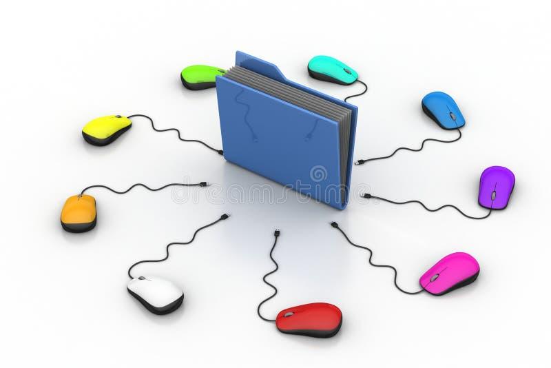 Мышь компьютера с папкой файла бесплатная иллюстрация