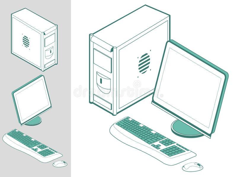 мышь монитора клавиатуры компьютера случая иллюстрация вектора
