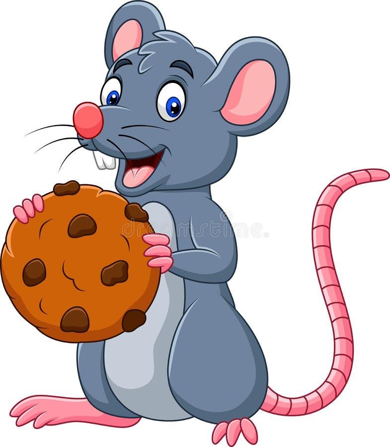 Мышь мультфильма держа печенье бесплатная иллюстрация
