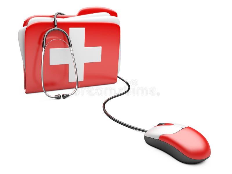 Мышь ПК с красной папкой и белым крестом иллюстрация вектора