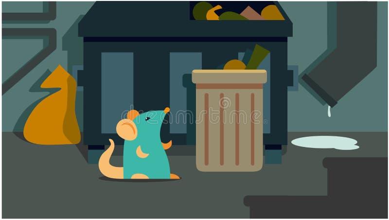 Мышь сидит в мусорном ящике иллюстрация вектора