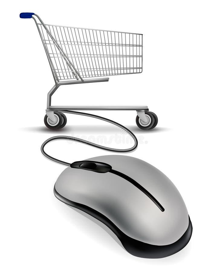 мышь соединенная тележкой ходя по магазинам к иллюстрация штока